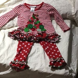 Bonnie jean 2T Christmas tree outfit guc